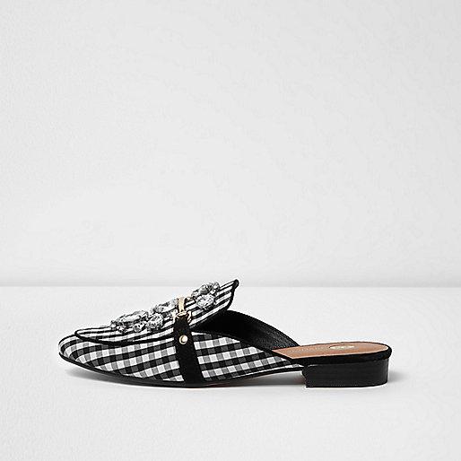 Black gingham print backless loafers
