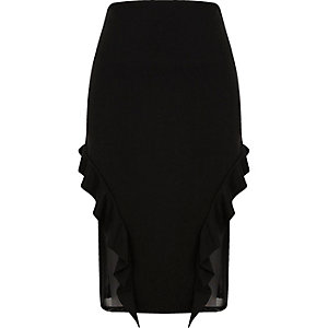 Black  frill and mesh midi pencil skirt