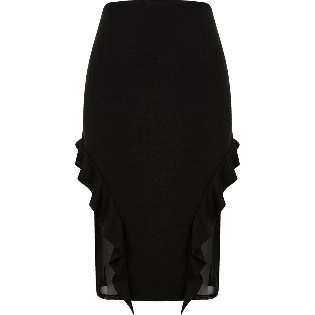 Black  frill and mesh midi pencil skirt