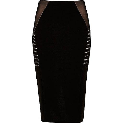 Black mesh panel midi pencil skirt
