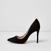 Black wide fit court shoes