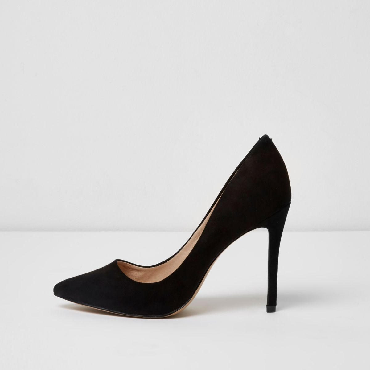 Black wide fit court shoes