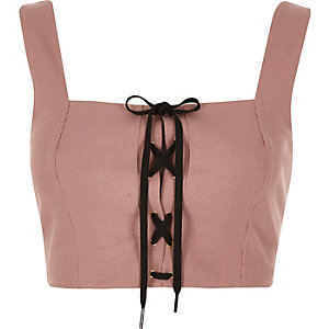 Nude structured corset tie crop top