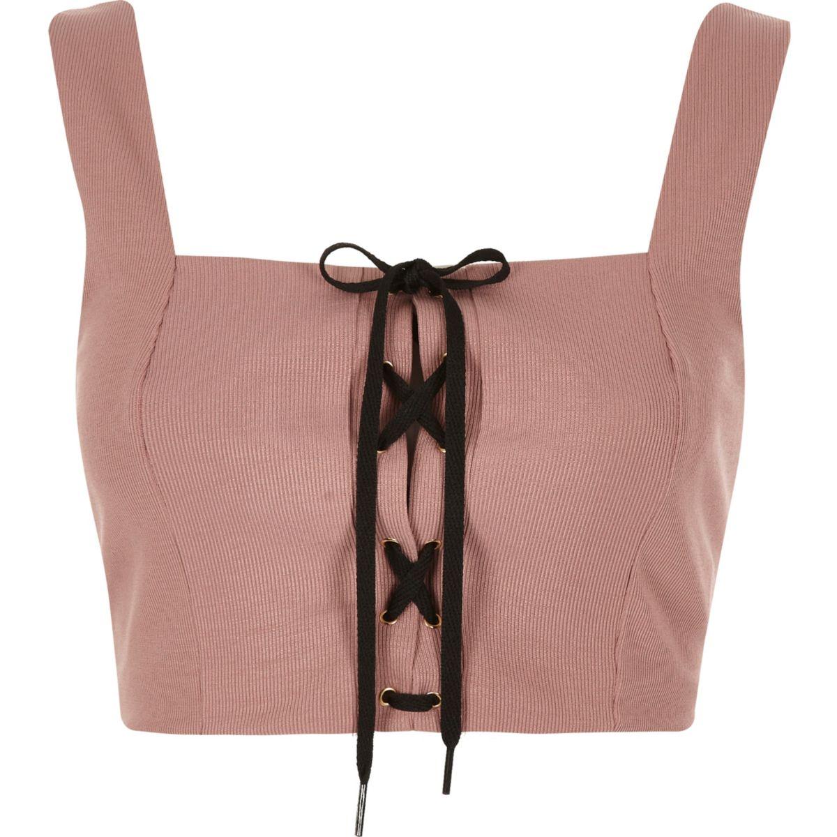 Nude structured corset tie crop top