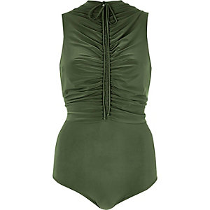 Khaki green ruched bodysuit