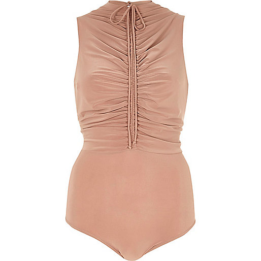 Nude ruched front bodysuit