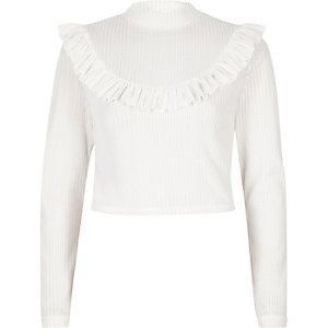 Cream frill turtle neck crop top