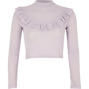Light purple frill bib turtle neck crop top