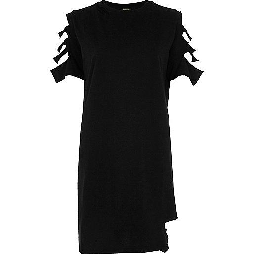 T-shirt long noir à manches à découpes