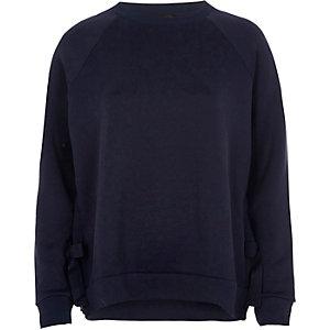 Marineblauwe sweatshirt met strik aan de zoom