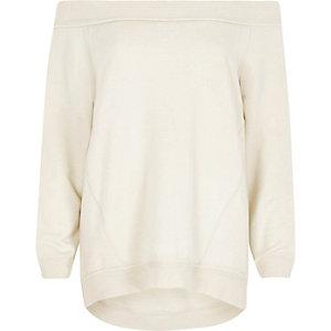 Cream jersey bardot sweatshirt