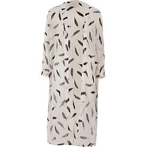 Cream feather print duster coat