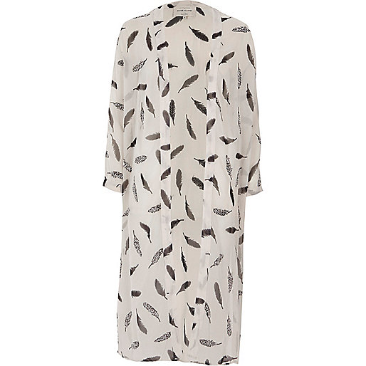 Cream feather print duster coat