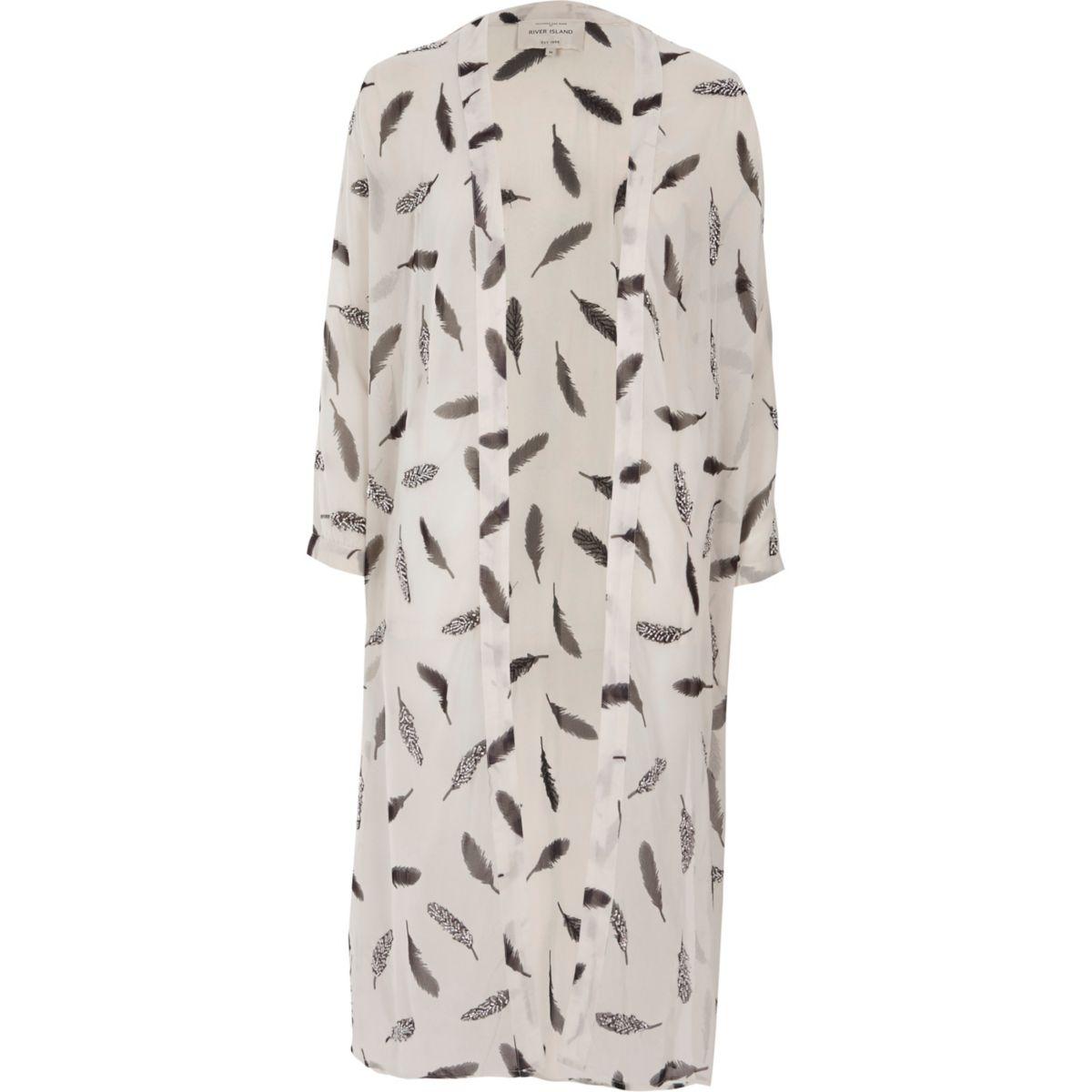 Cream feather print kimono