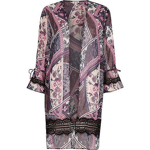 Pink scarf print lace insert kimono
