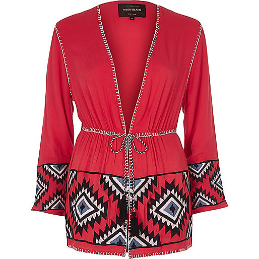 Red aztec embroidered beach kimono