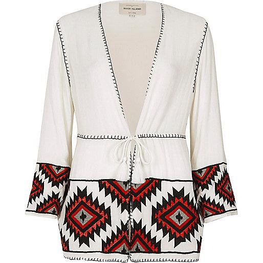 White and red aztec embroidered kimono