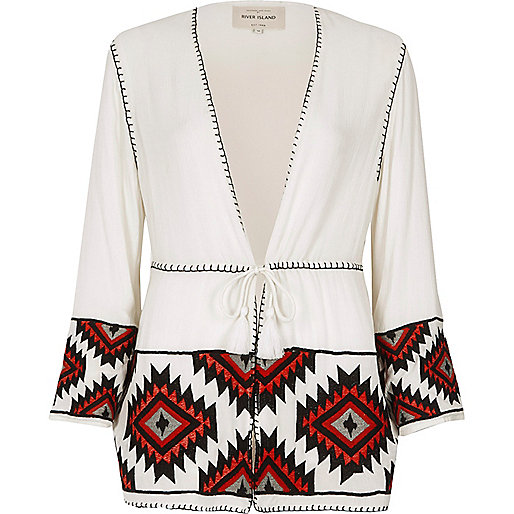 White and red aztec embroidered kimono