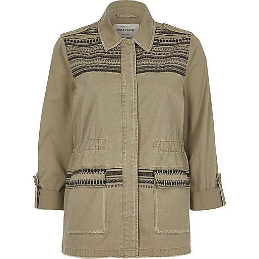 Khaki green studded army jacket