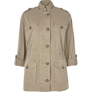 Light khaki oversized army jacket