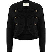Black gold tone button military jacket