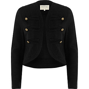 Black gold tone button military jacket