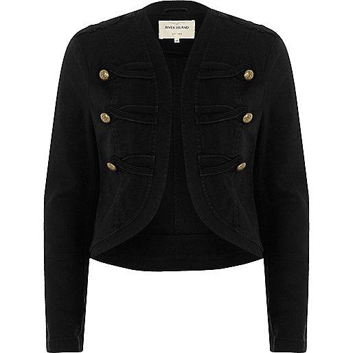 Schwarze Military-Jacke mit goldenen Knöpfen