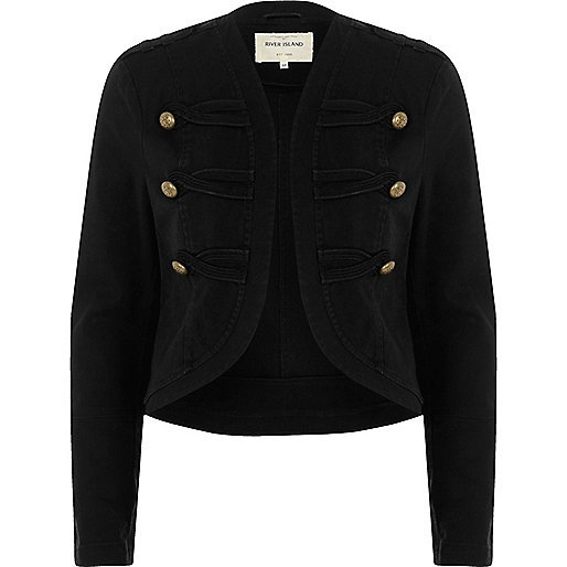 Zwarte jas in legerlook met goudkleurige knopen