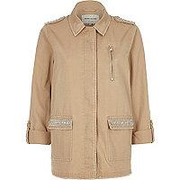 Light khaki brown jewelled army jacket