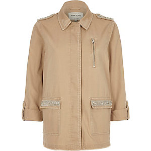 Light khaki brown jewelled army jacket
