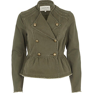 Khaki green distressed military jacket