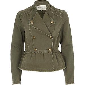 Khaki green distressed military jacket