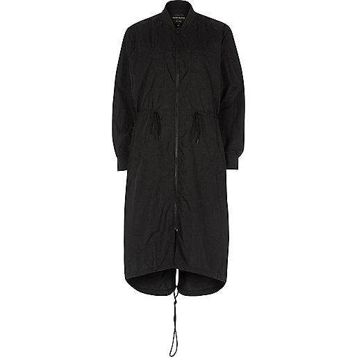 Black longline anorak jacket