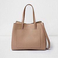 Beige leather bucket tote bag