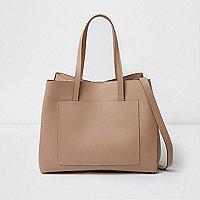 Beige leather bucket tote bag