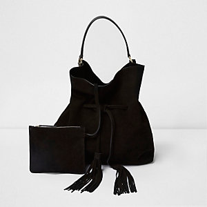 Black suede slouch drawstring duffel bag
