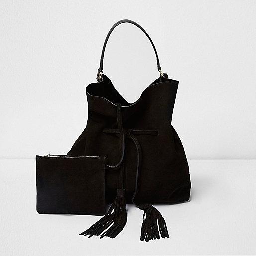 Black suede slouch drawstring duffel bag