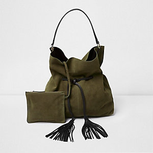 Khaki green suede drawstring duffel bag