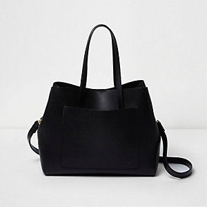 Black leather bucket tote bag