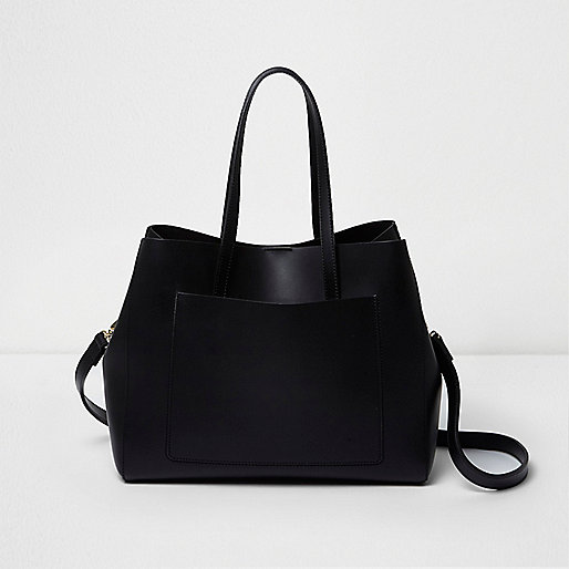 Black leather bucket tote bag