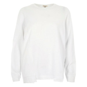 White deconstructed hem sweatshirt