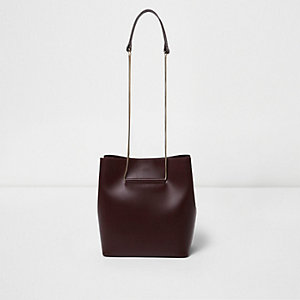 Dark red leather chain bucket bag