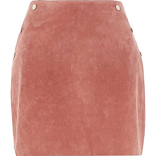 Dark pink suede studded mini skirt