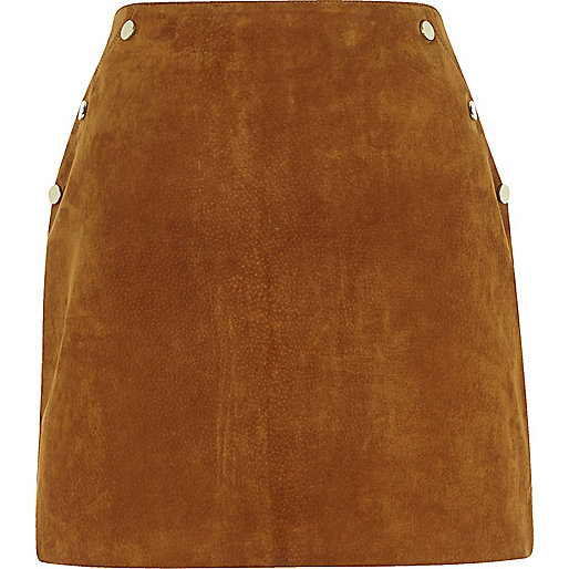 Brown suede studded skirt
