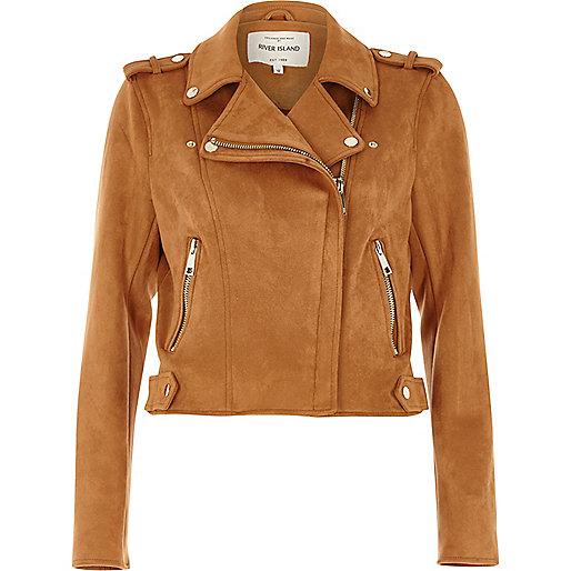 Tan faux suede biker jacket