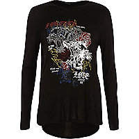 Black heatseal print long sleeve T-shirt