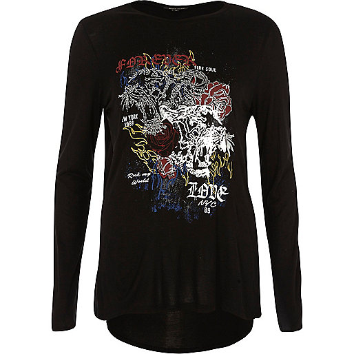 Black heatseal print long sleeve T-shirt