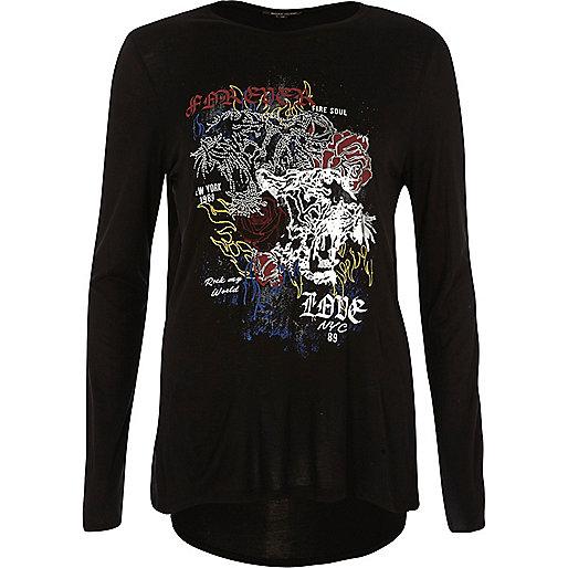 T-shirt noir avec imprimé thermocollé et manches longues