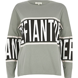 Khaki defiant print top