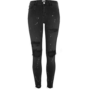 Black wash chewed hem paint Molly jeggings
